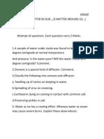 GRADE 9 Chemistry Test Paper