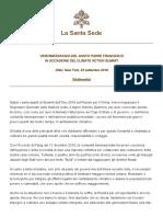 Papa Francesco 20190923 Videomessaggio Climate Action Summit