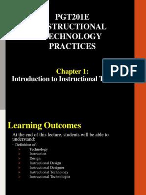 Pgt201e Instructional Design Educational Technology
