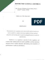 Pakistan Medical Ordinance Act 2019