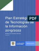 Plan Estratégico de Tecnologias de la Informacion 2019-2022.pdf