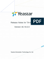 Yeastar Release Note for TA1610 40.19.0.X En