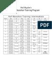 Hal Higdon's Intermediate Half Marathon Training Program