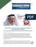 Israeli Private Intelligence Firm Claimed Recruitment of Khashoggi Prior to Murder
