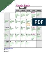 Outubro Calendario de Yoga