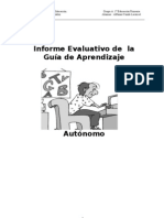 Informe Evaluativo de  la Guía de Aprendizaje Autónomo