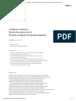 Analgesia, Anestesia y Restricción Química en El Paciente Emergente de Animales Pequeños 2.0