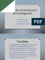 Variables en Un Proyecto de Investigación