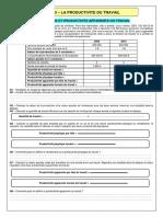 TD No 3 - La Productivite Du Travail 2011-2012