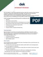 DEK Technologies Internship Program