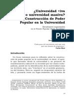 Construcción de Poder Popular en la Universidad