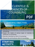 The Clientele & Audiences of Counseling