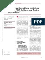 Actualite Sur Le Myelome Multiple Au Congres 2016 de Lamerican Society of Hematology (2)