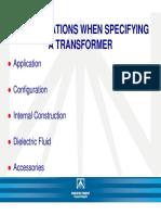 Especificaciones para el diseño de transformadores