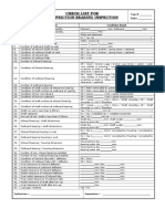 Check List - Antifriction Bearing Inspection