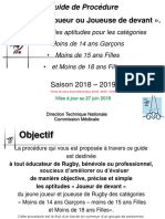 Passeport ecole de rugby  2018/2019 ligne avant rugby France
