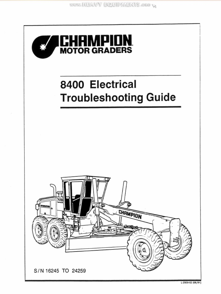 Manual Champion 700 Series Motor Graders 8400 Electrical