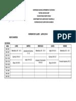 UNEXPO VRP Horario Estudios Generales Lapso 2019-2