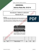 PWA IAN 013 14 Rev A1 - Amendments to QCS 2014