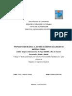 PROPUESTAS DE MEJORAS AL SISTEMA DE GESTIÓN DE ALMACÉN DE MATERIAS PRIMAS. (CASO