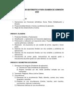 Unan Managua Temaria Unico de Matematica 2020