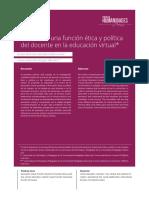 La función ética y política del docente en la educación actual.