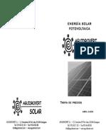 Tarifa Precios Energia Solar Fotovoltaica 0404