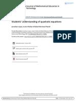 Students Understanding of Quadratic Equa