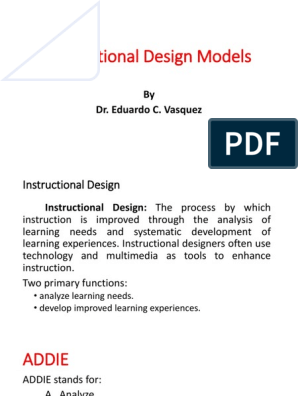 Instructional Design Models By Dr Eduardo C Vasquez Instructional Design Learning