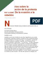 Comentarios Sobre La Generalización de La Protesta en Chile