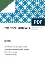 Week 8 Statistical Intervals