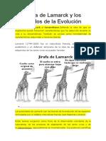 La Teoría de Lamarck y Los Postulados de La Evolución