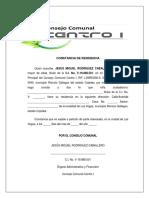 Constancia de Residencia (Consejo Comunal Centro i)