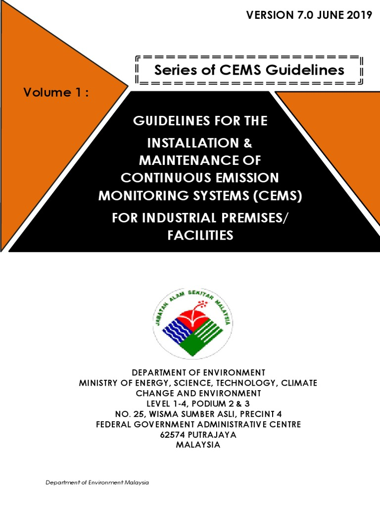 Guideline For The Installation Maintenance Of Cems For Industrial Premises Or Facilities Version 7 0 June 2019 Air Pollution Calibration