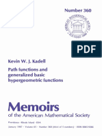 (360) (Memoirs of the American Mathematical Society) Kevin W. J. Kadell - Path Functions and Generalized Basic Hypergeometric Functions-Amer Mathematical Society (1987)