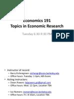 Topics in economics research