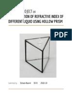Refractive index of different liquid using hollow prism