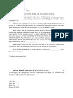 Certificate Increase in Capital