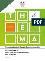 Théma - Modes de Vie Et Pratiques Environnementales Des Français