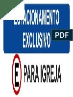 Placa para estacionamento