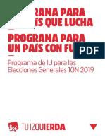 Programa de IU Para Las Elecciones Generales 10N 2019