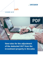 New rules for the adjustment of the deducted VAT from the investment property in Slovakia | News Flash