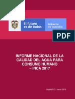 INFORME NACIONAL DE LA CALIDAD DEL AGUA PARA CONSUMO HUMANO INCA 2017