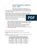 Plan Nacional de Seguridad y Salud en El Trabajo 2013