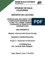 Desigualdad, Inclusión y Equidad en La Educación Superior en América Latina y El Caribe Tendencias y Escenario a- Reporte de Lectura 4 - Johanna Ivette Suarez Carvajal.