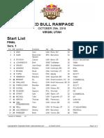 Red Bull Rampage Start List 2019