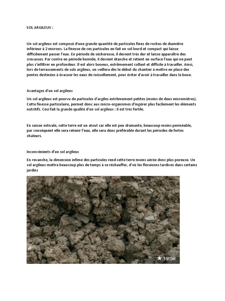 Sol Argileux Avantages Inconvénients oumaima pfe | argile | calcaire