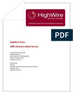 Report and Analysis of HighWire Fall 2009 Librarian Survey on eBooks