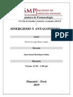 SINERGISMO Y ANTAGONISMO LAB DE FARMACO USMP 2019