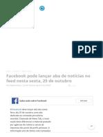 Facebook Pode Lançar Aba de Notícias